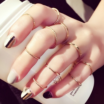 10pcs/Set Korean Finger Rings Girls Fashion Jewelry Gold Plated Ring