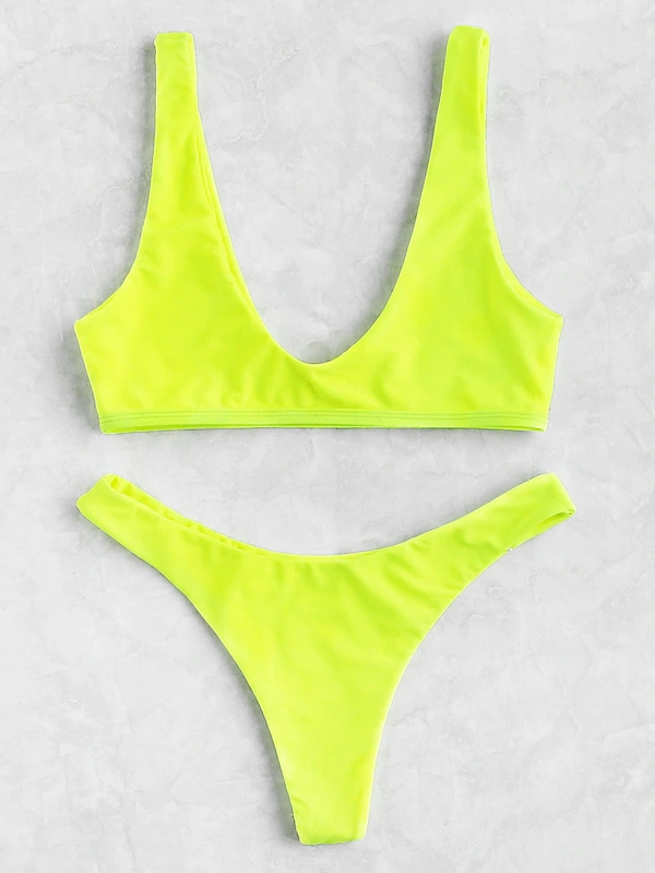 KY wide strap non adjustable Neon Lime Top With High Cut fashion show sexy bikini