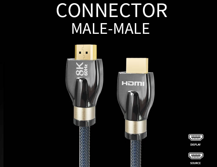 1.8M Latest Ultra High Speed Gold HDMI Male to Male 8K Aluminum Shell HDTV PS4 HDMI 2.1 Cable