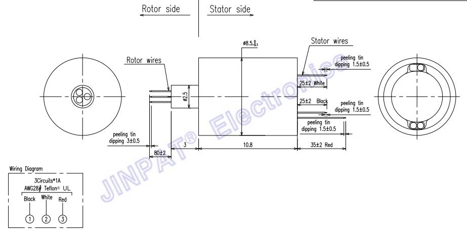 装置を伸ばすカメラの保証のための極度のミニチュア電気スリップ リング0~300rpm IP40