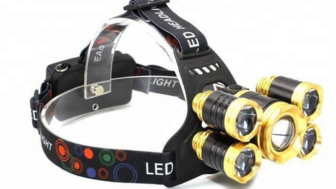 Hunting Camping Mining Security Rechargeable 5 Led Headlamp