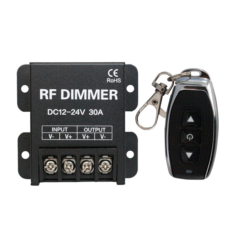360W RF Single Color Strip Light 1 Channel 12V~24V PWM Dimming Black Shell Single Color 30A RF 3 Keys LED Dimmer