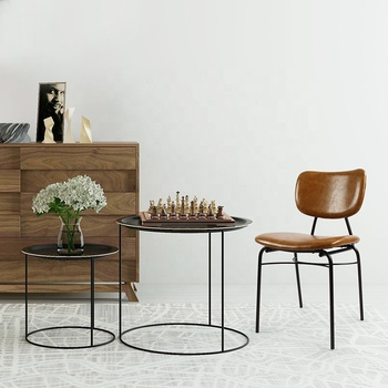 Industrial Style Coffee Bar Loft Pu Leather Restaurant Metal Dining Chair