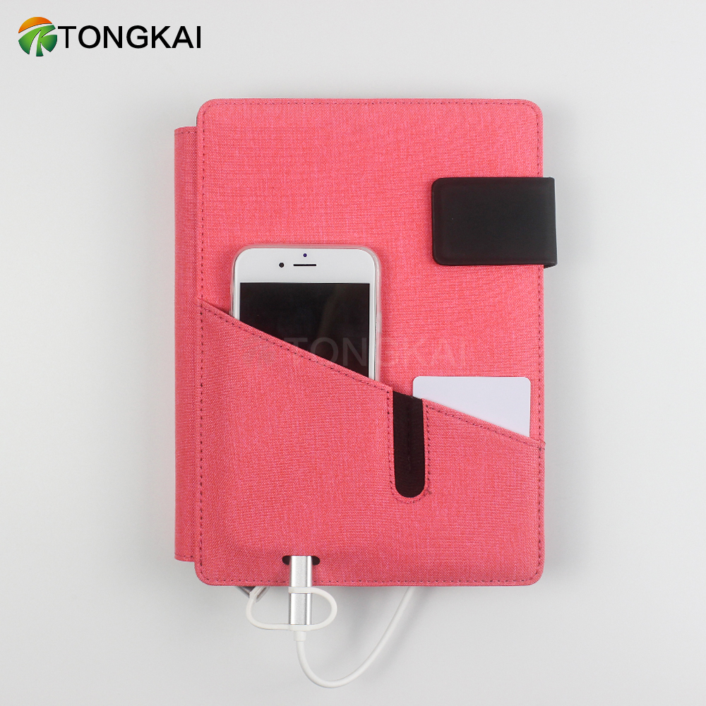 Phone Travel Wireless Charger Faux Leather Binder Notebook Planner With Power Bank
