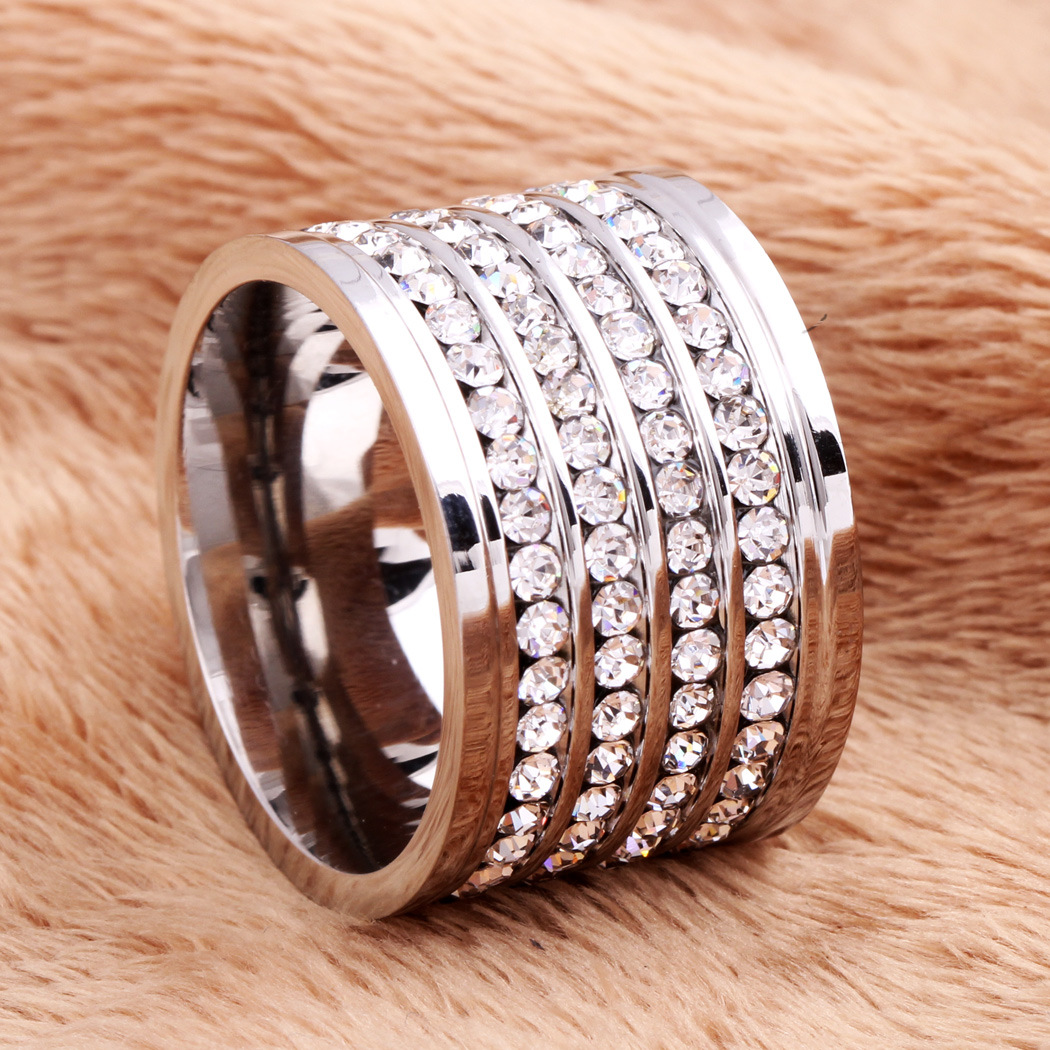 product-New Fashion Four Row Drill Exaggerated Wide Ring Stainless Steel-BEYALY-img