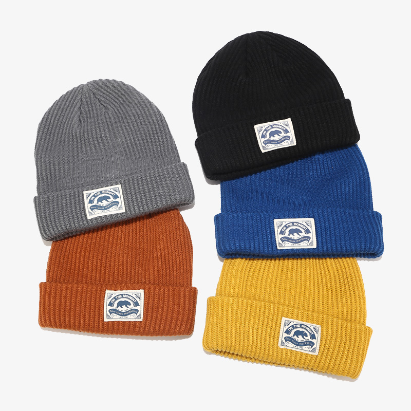 Acrylic Blend Slouchy Cuff Woven Label Ski Cap, Skull Knit Winter Hat, Custom Beanie