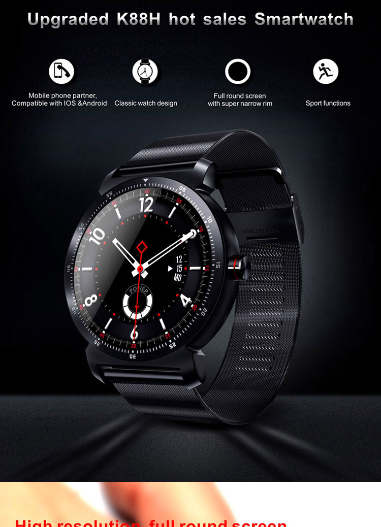 "New 품 K88H Plus Smart Watch 1.3 ""IPS Round 스크린 Support Sport Heart Rate Monitor 폰 스마트 대 한 IOS 안드로이드"