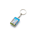 Wholesale Customized pattern rectangle 3D shaped Gift Crystal key ring fashionable alloy key chain