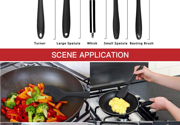 Food Grade 10 Pcs Silicone Red Kitchen Utensils Kitchen Accessories Cooking Tools