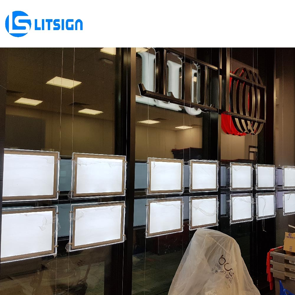 illuminated picture frame advertising cable hanging wall display light panel led signage real estate plate