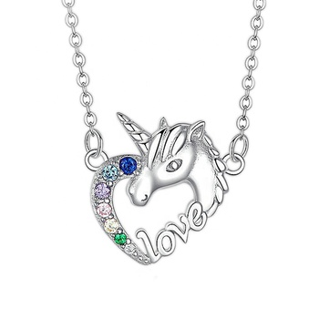 Trendy Gifts High Quality Animal Unicorn Zircon Necklace Girls Rainbow Necklaces & Pendants Women Accessories For Women