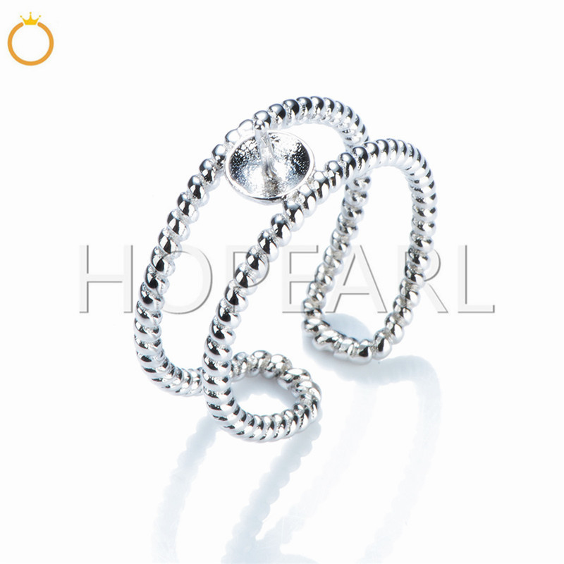 SSR112 Double Loop Twist Layer Cuff Ring Settings 925 Sterling Silver Pearl Ring Base