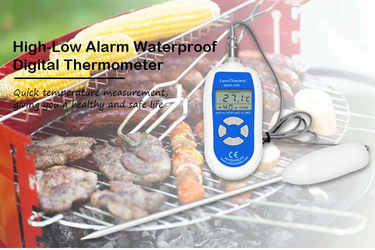 Temperature Range Manual Waterproof Digital LAB 0.5 Accuracy Thermometer with Long Probe