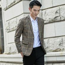 Клетчатый блейзер для мужчин, блейзер в английском стиле, повседневная куртка для свадебного платья, деловая уличная куртка, костюм Este Homme, ...(Китай)