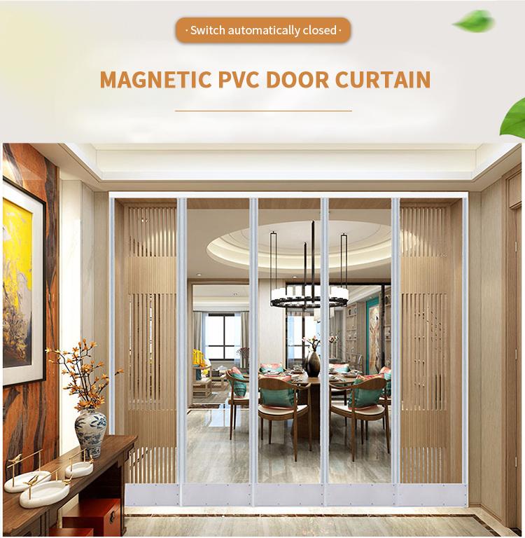 Venda imperdível cortina de tira de pvc magnética de porta de folha transparente