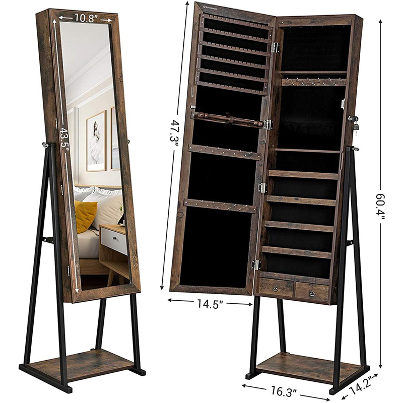 Antique cheap standing wood cheval mirror jewelry armoire with 2 drawer