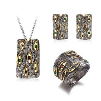 Handmade Cut Green Spinel Gemstone Pendant Ring Earring 925 Sterling Silver Rectangle Fine Jewelry Set For Men