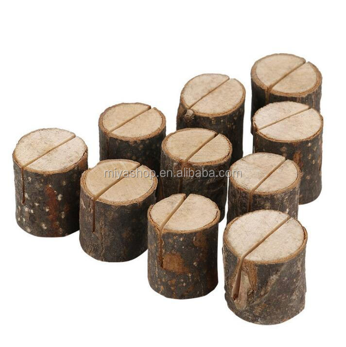 Creative tree stump wooden photo clip with bark / wedding party decoration props / crafts ornaments