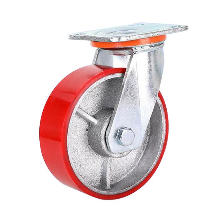 כבד החובה יצוק ברזל core גלגלית גלגלי Pu גלגל תעשייתי גלגלית