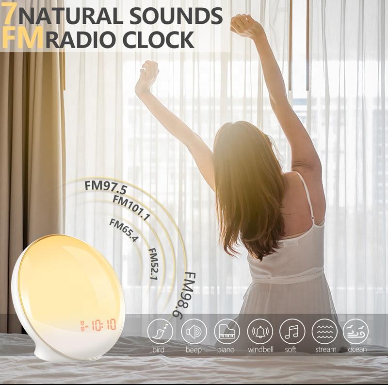 2021 Hot Sales Digital Table Led Wake-Up Light Alarm Clock Smart Sleep Wake Up Light Bluetooth WIFI Sunrise Alarm Clock
