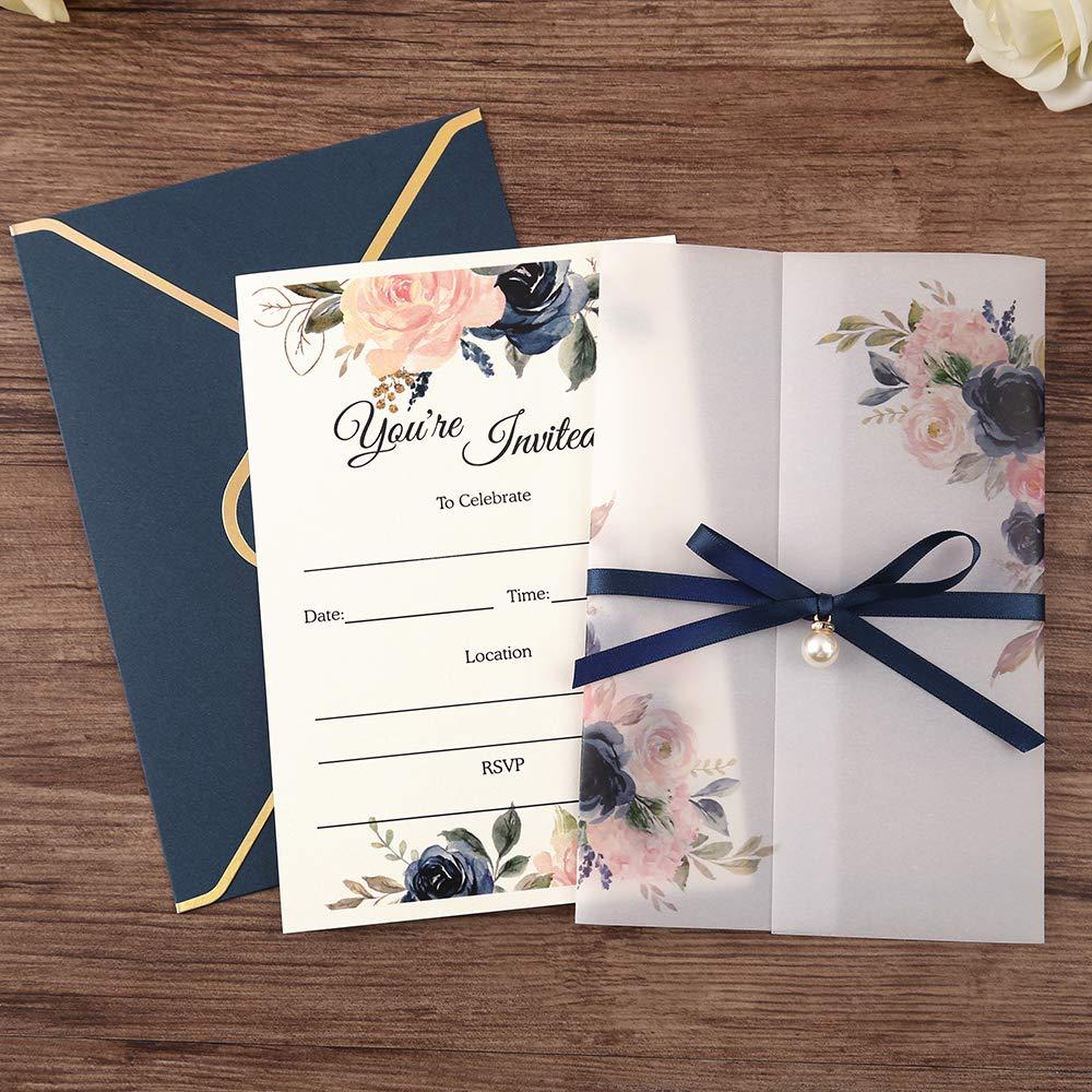 Myway su ordine all'ingrosso Vaso di Fiori Blu laser cut carte di nozze matrimonio invito di lusso di disegno di modo di prezzi