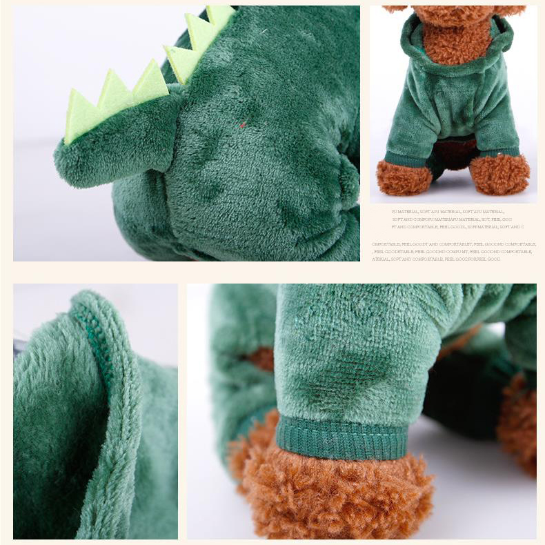 Autumn Winter Cute Pet Dog Clothes Coral Fleece Dinosaur Dress Pet Transformation Pet Funny Clothes