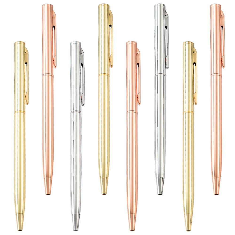 Manufacture promotional slim metal ball pen colorful stationery hotel pens with custom logo