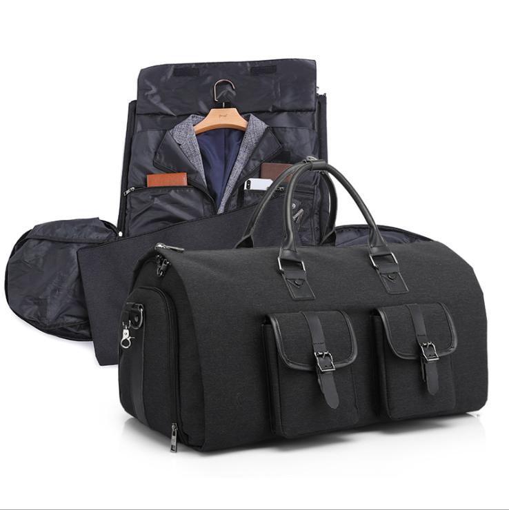 Custom High Density canvas polyester Multifunctional Travel Bag Detachable Shoes Bag Folable Duffle bags
