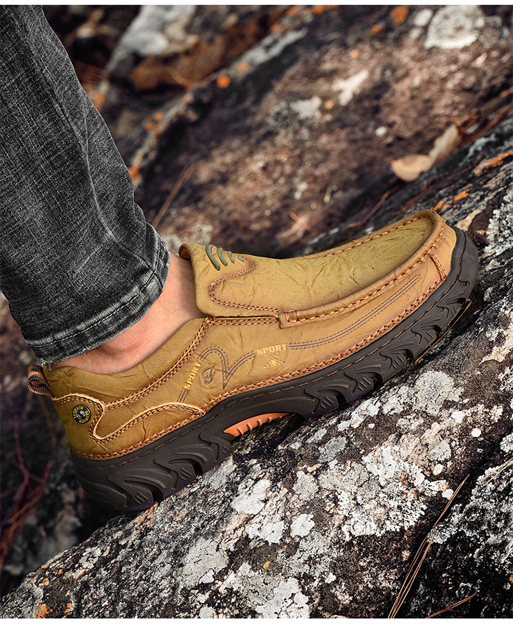 Outdoor walking custom leather men's casual+shoes