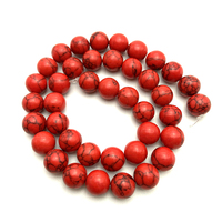 Wholesale 6mm/8mm/10mm/12mm Natural Red Turquoise Round Stone Beads Loose Smooth Beads for Jewelry Bracelet Necklace Making