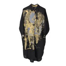 Женское платье-рубашка EAM, черное платье-рубашка большого размера с принтом и отложным воротником, свободный крой, с длинным рукавом, на весн...(Китай)
