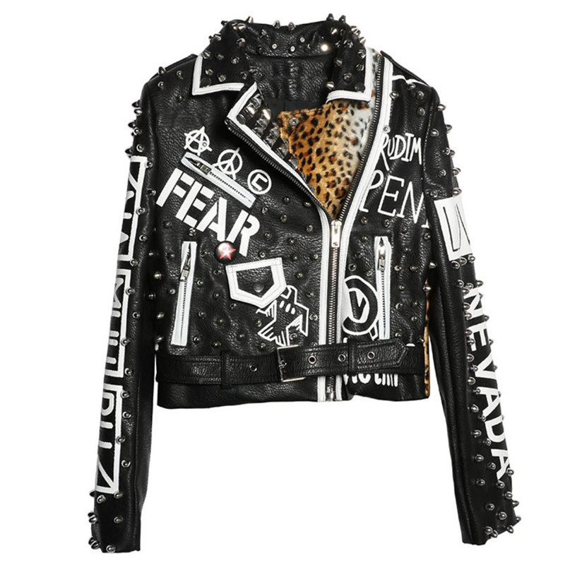 Graffiti-imprimé rivet léopard imprimer épissage courte veste en cuir moto femme manches longues rock manteau