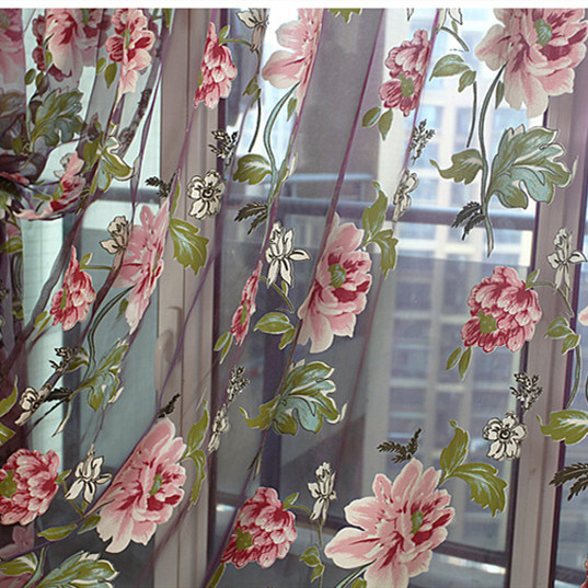 Floral Curtain Burnout Voile Curtain Window Modern Living Room Bedroom Tulle Curtain Kitchen Sheer Fabric Cortinas