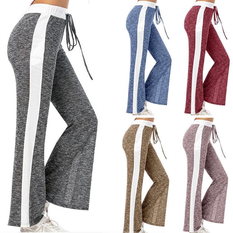 Casual Ladies Nylon Bell Bottom Flared Trousers Long Wide Leg Pajama Plus Size Women's Yoga Pants