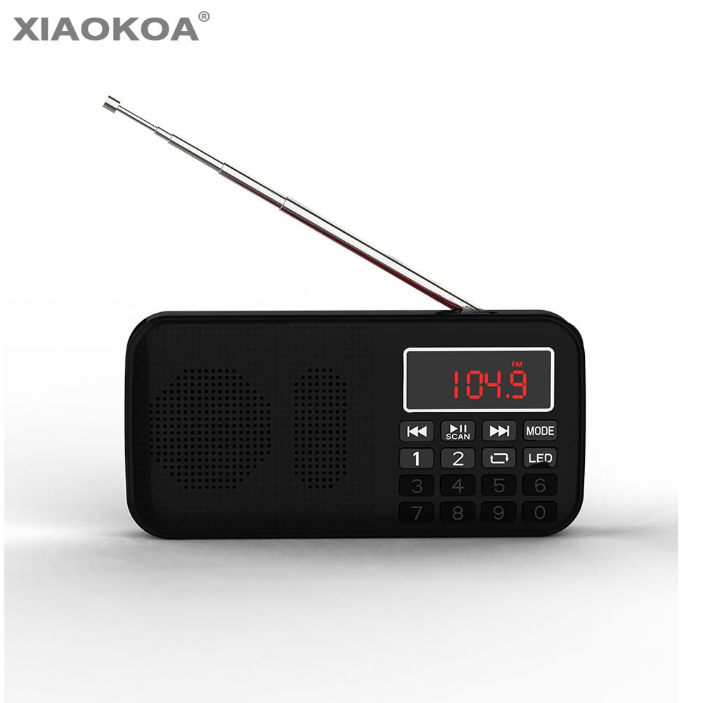 XIAOKOA Rádio FM mini Speaker Portátil Music Player Suporte Tf Porta USB Aux de Áudio player de rádio Gravador