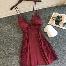 Новинка лета 2020, женское сексуальное платье для сна из поплина, мягкое платье на бретельках длиной до колена, женское комфортное однотонное ...(Китай)