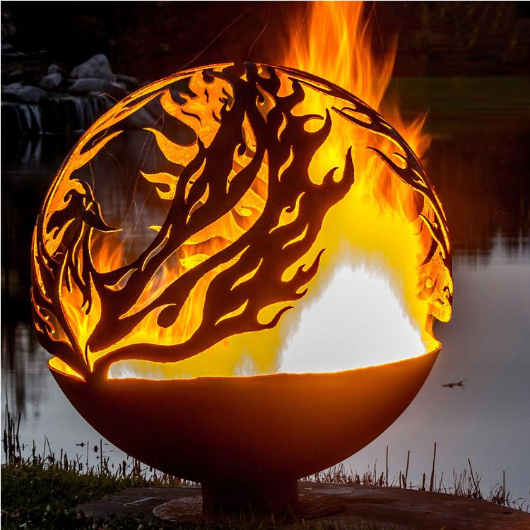 Rusty metal sphere outdoor garden corten steel fire pit ball