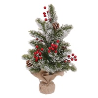 Wholesale 50cm green snowing PE small Xmas tree with red berries