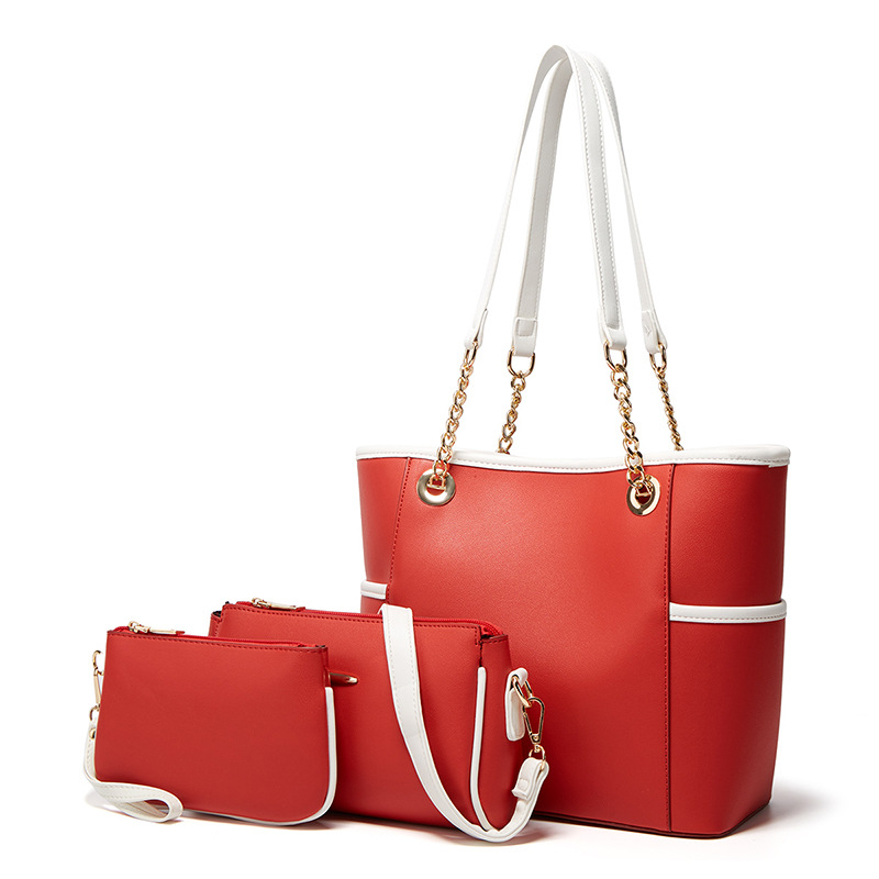 New 2021 trends pu leather ladies bags set designer women purses and handbags fashionable