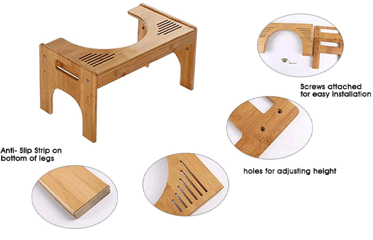 Bamboo Squatting Toilet Stool Adjustable Bamboo Portable Bathroom 7 inch and 9 inch Height Two Sizes-in-one