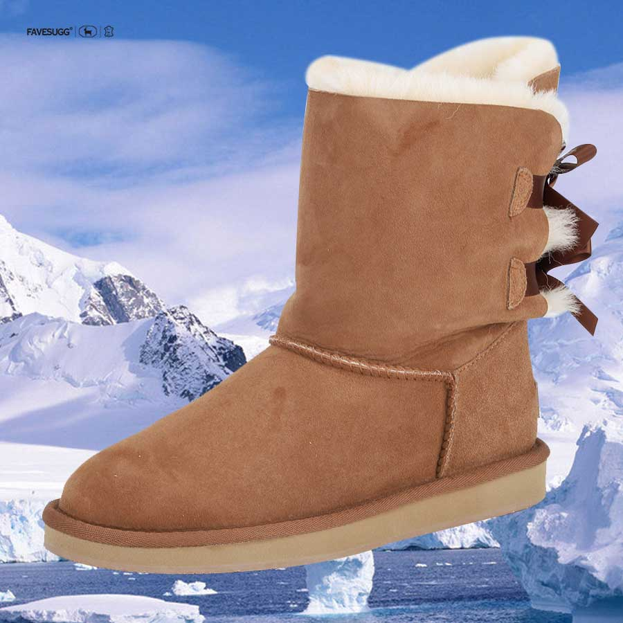 FAVESUGG double face pelle di pecora di Base mini di modo di stile del cuoio genuino dell'arco di inverno delle donne stivali da neve made in China