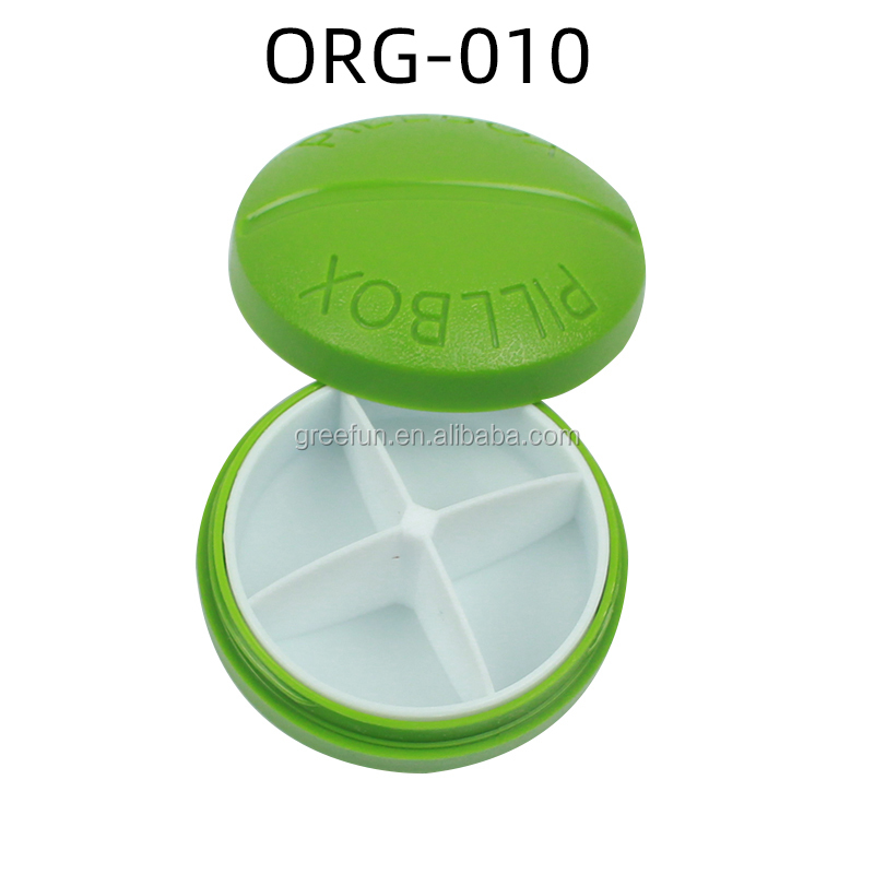 Logotipo personalizado mensual semanal de caja de la píldora organizador vitamina titular con botón fácil de abrir 7 días AM/PM dispensador de medicina caja