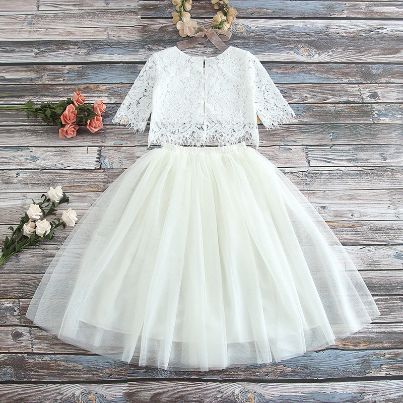 New High Quality Baby Girls  Lace Tops & Multilayer Fluffy Skirt Princess Clothing Set