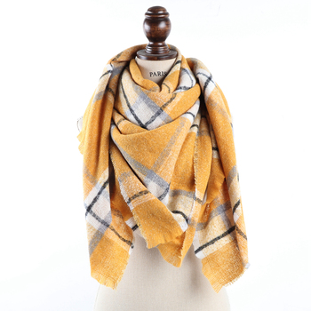 Hot sale women stock large oversize winter cape tartan plaid acrylic scarf blanket