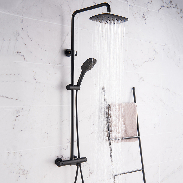 Black Rain Shower Head Thermostatic Bath Faucet Wall Mounted Shower Faucet Set