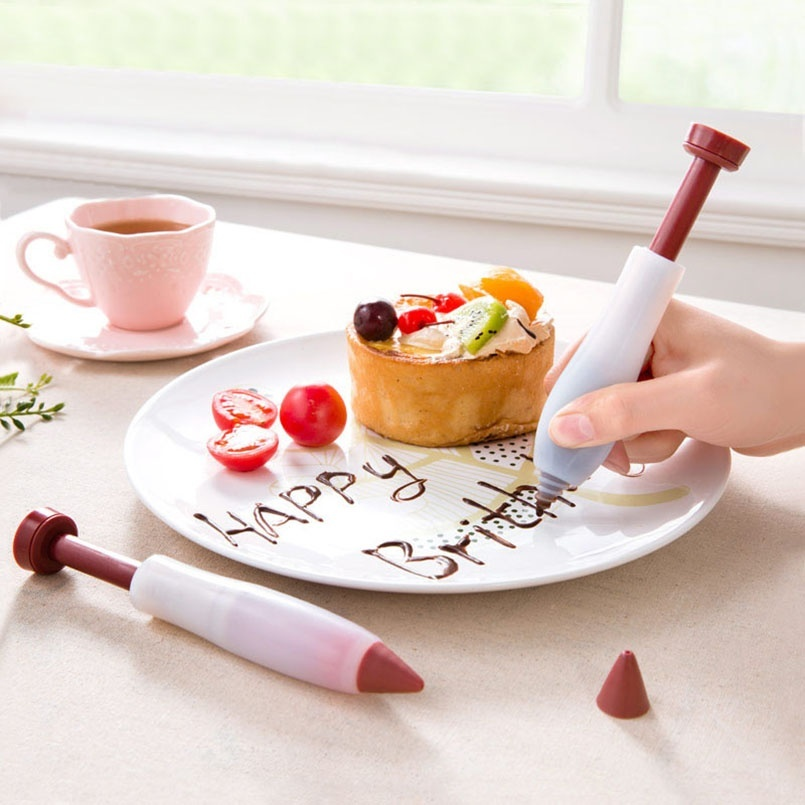 Pastry Food Cream Pen Chocolate Fruit Jam Design Cake Decorating Icing Piping Pen Cookie Pastry Nozzles Kitchen Accessories