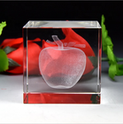 MH-FT0050 High Transparent 3D Laser Engraved crystal apple image cube crystal paperweight