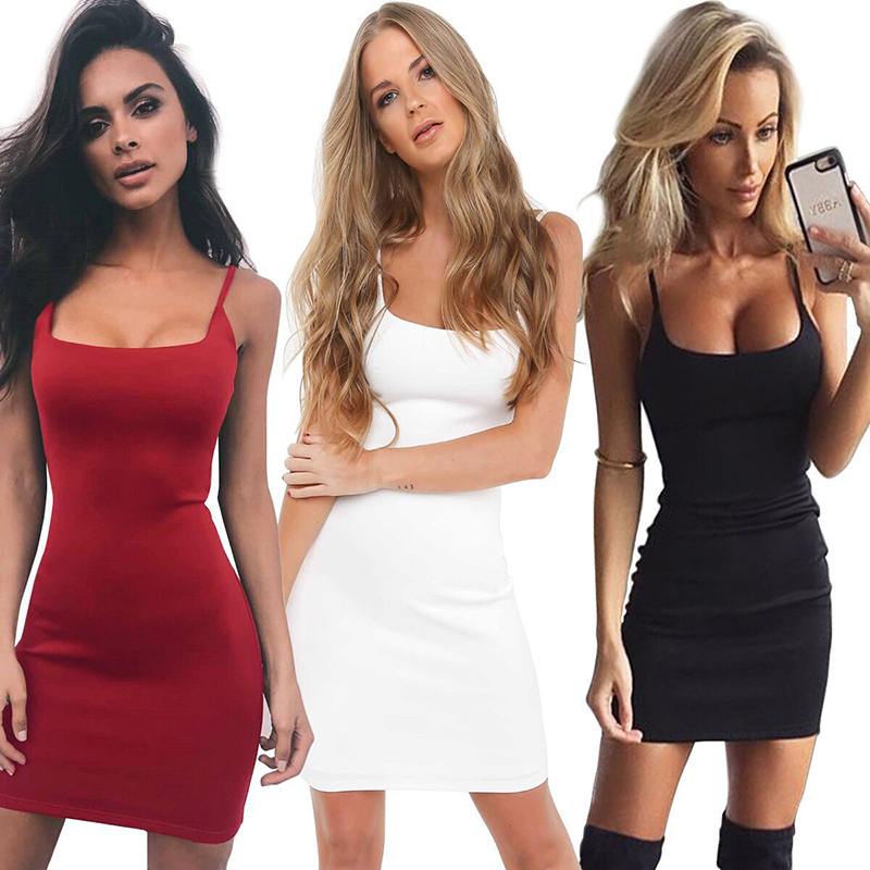 Summer Sexy Sling Bodycon Dress Womens Tight Spaghetti Strap Dresses 2020 Women's Clothing