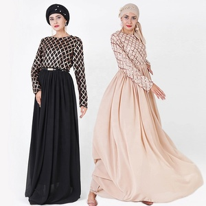 wholesale 2019 new design elegant casual clothing women muslim kaftan dress sequin abaya