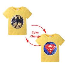 Футболка с блестками для мальчиков и девочек, летняя хлопковая футболка с коротким рукавом и мультяшным рисунком(Китай)